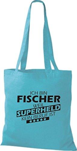 Shirtstown Stoffbeutel Ich bin Fischer, weil Superheld kein Beruf ist sky