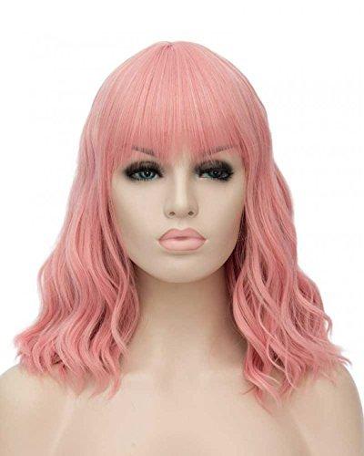 ATAYOU-WIG Mujer Hombros bob Pequeños rizos ondulados Elegante peluca (Rosa)