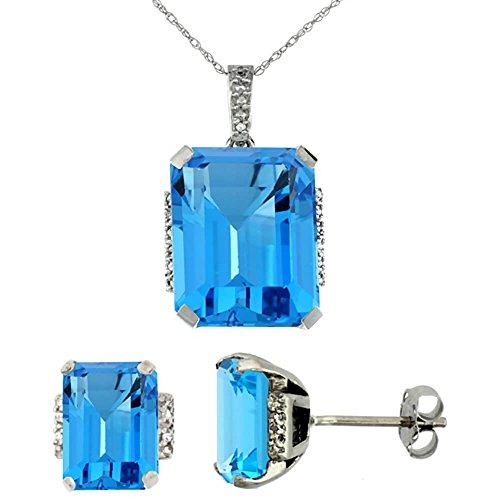 Or blanc 9Ct Topaze Bleu naturel octogone Swiss Boucles d'oreilles et pendentif Set Accents de diamant