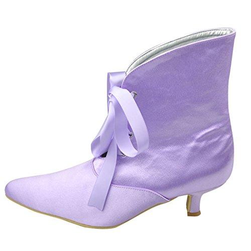 Minishion Dames Mid Hielen Satijn Avondfeest Bruids Schoenen Strappy Enkellaarzen Paars-5cm Hak