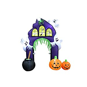 9 Foot Tall Halloween Inflatable Castle Archway with Pumpkins and Ghosts LED Lights Decor Outdoor Indoor Holiday…