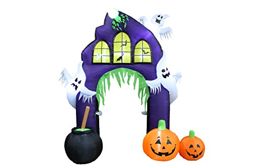 9 Foot Tall Halloween Inflatable Castle Archway with Pumpkins and Ghosts LED Lights Decor Outdoor Indoor Holiday Decorations, Blow up Lighted Yard Decor, Lawn Inflatables Home Family Outside -