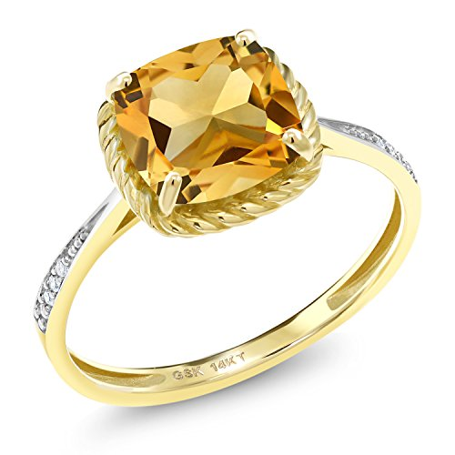 Gem Stone King 3.06 Ct Cushion Yellow Citrine White Diamond 14K Yellow Gold Engagement Ring (Size 8)
