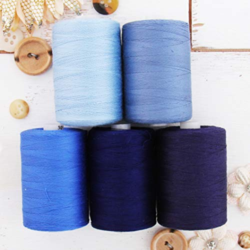 Threadart 100% Cotton Thread Set | 5 Blue Tones | 1000M (1100 Yards) Spools | For Quilting & Sewing 50/3 Weight | Long Staple & Low Lint | Over 20 Other Sets Available