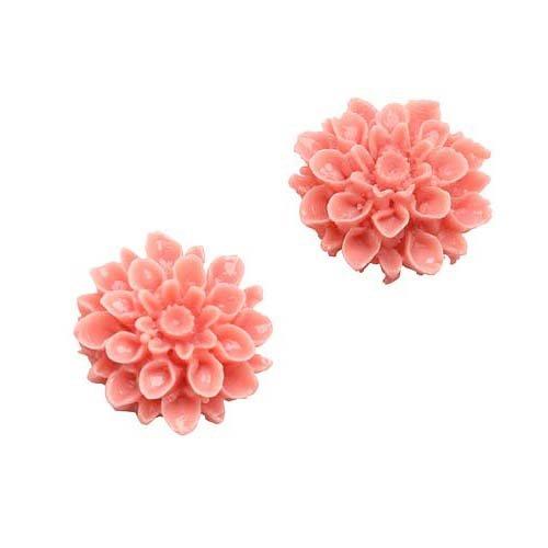 Beadaholique Vintage Style Opaque 2-Piece Lucite Cabochons Chrysanthemum Mum Flower Beads, 16mm, Light Coral