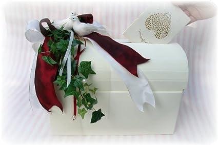 Caja para sobres de boda, diseño de cofre Burdeos