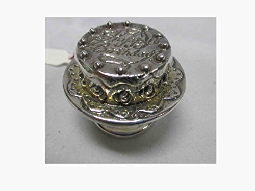- 925 Electroforming Sterling Silver Miniature Birthday Cake on Serving Tray Ac-2506, Including 1 Piece Wooden Magnet or Keychain As Seen in Picture