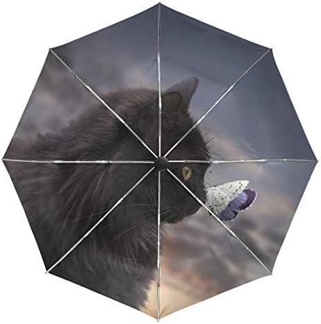 Chovy 折りたたみ傘 軽量 自動開閉 晴雨兼用 レディース 日傘 UVカット 遮光 ワンタッチ メンズ 黒猫 蝶 おもしろ かわいい 可愛い 猫柄 雨傘 傘 晴雨傘 折り畳み 8本骨 遮熱 丈夫 耐風撥水 収納ポーチ付き プレゼント