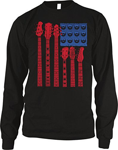 - Amdesco Men's Guitar American Flag, USA Guitars Thermal Shirt, Black Medium