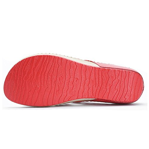 Sandales Leroy Femme Compensées Rouge Tongs Plage Alexis Mules tPWwYg6tq