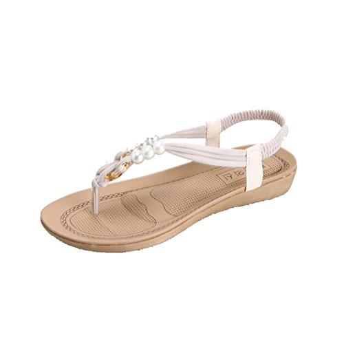 Sandales Dété, Inkach Femmes Plates Perles Chaussures Loisirs Dame Bohème Sandales Peep-toe Flip Flops Blanc