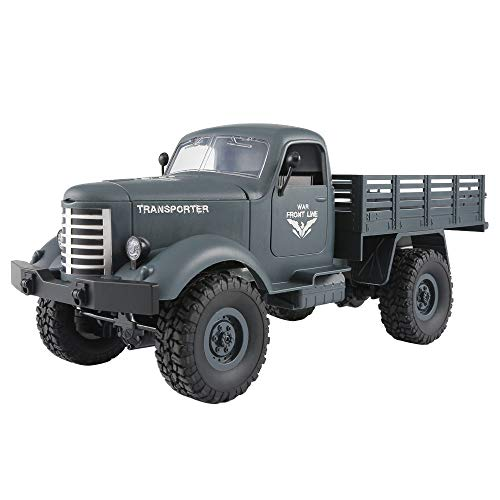 Littleice JJRC Q61 RC 1:16 2.4G Remote Control 4WD Tracked Off-Road Military Truck Car RTR Toy (A) -