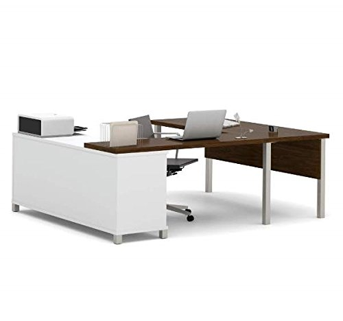 Bestar U-Shaped Desk 71 1//8W X 89D X 29 3//4H Made Of Durable 1.5 Commercial Grade Work Surface W//Melamine Finish White /& Oak Barrel