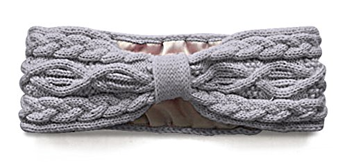 - Silk Satin-Lined Cable Knit Headband with Grip Technology by LULLADO in 'Classic Gris' | Hair Wrap, Hair Band, Ear Warmer, Ear Muffs | Helps Dry or Damaged Hair