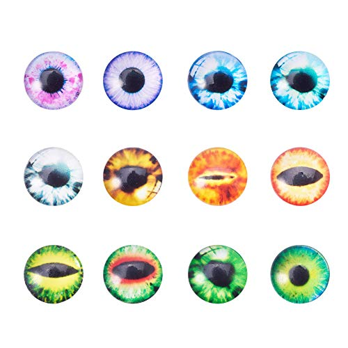 PH PandaHall 20pcs 12x4mm Mixed Evil Eye Printed Dome Glass Cabochons Half Round Flatback Dome Cabochons for Halloween Cameo Pendant Jewelry Making (Monster Contact Lenses For Eyes)