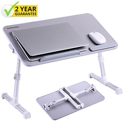 Portable Laptop Table by Superjare | Foldable & Durable Design Stand Desk | Adjustable Angle & Height for Bed Couch Floor | Notebook Holder | Breakfast Tray - Gray (Set Breakfast In Bed)