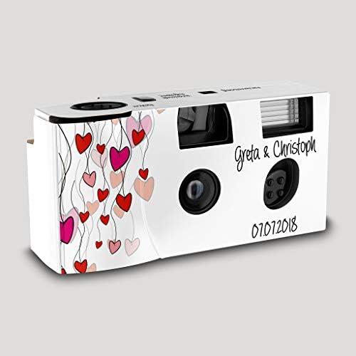 Hochzeitskamera Einwegkamera Flying Hearts Mit Personalisierung Iso 400 27 Aufnahmen Blitz Elektronik