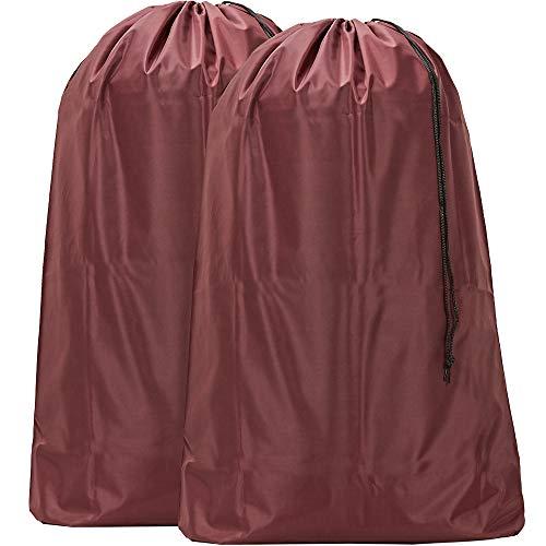 (HOMEST 2 Pack 28''x40'' Extra Large Travel Nylon Laundry Bag Drawstring Closure Machine Washable Sturdy Rip-Stop Double Stitching, Burgundy)