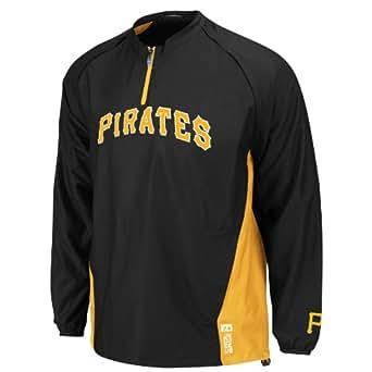 MLB Pittsburgh Pirates Adult Long Sleeve 1/4 Zip V-Neck Gamer Jacket (Pro Blk/Pro Gld, X-Large)