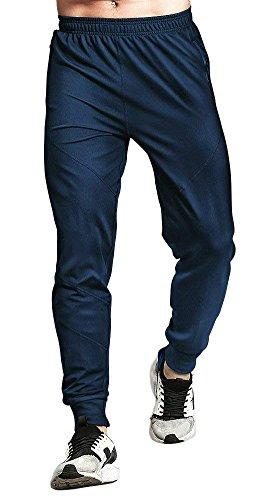 (TBMPOY Men's Basic Active Gym Training Tapered Solid Knit Sweatpants(Navy,us M))