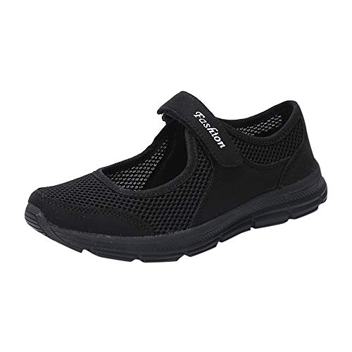 SSYUNO Women's Fashion Sneakers Lightweight Breathable Flat Slip-on Walking Tennis Running Shoes Mary Jane Shoes Black ()