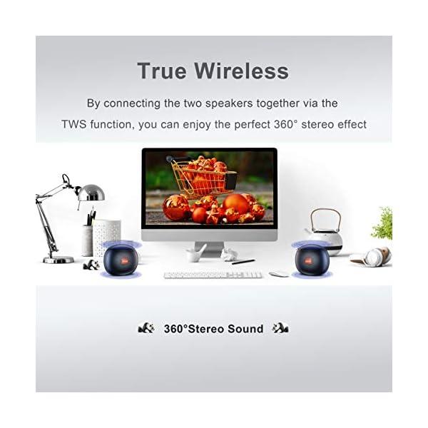 Enceinte Bluetooth Portable, Enceinte Bluetooth Waterproof IPX6, TWS HD Audio Haut Parleur Bluetooth 5.0 Pilote Double avec Son 360°, 12 Heures Autonomie Mains Libres Téléphone Support FM, USB, TF 4