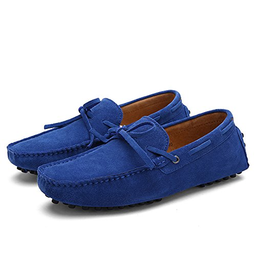 SUNROLAN Darnell Mens Suede Leather Bow Accent Moccasins Casual Style Western Penny Loafers Sapphire Blue OkZnP