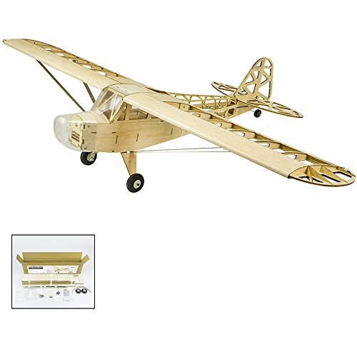 (2019 Upgrade Balsa Wood Electric Airplane 1.2M Piper Cub J3 by DW Hobby Balsa Laser-Cutting J3 Need to Build; Remote Control Airplane KIT for Adults (S2301))
