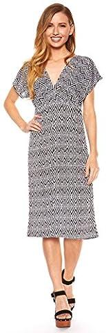 Women Vibrant Printed V-Neck Cap Sleeve Knee Length Dress (1X, Black DM7055) - Smocked Waist Silk Blouse