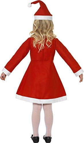 Smiffys Disfraz de niña de Mamá Noel, Rojo, con vestido y gorro ...