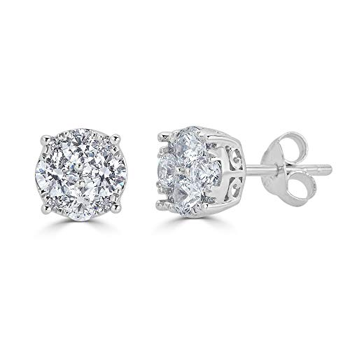 3/4Ct Natural Diamond Stud Earrings Set in Sterling Silver