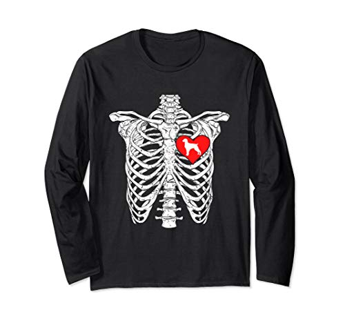 Skeleton Rib Cage Brittany Heart Dog Long Sleeve Shirt