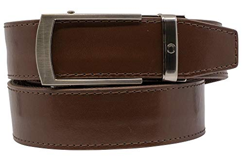 2019 Bond EDC Brown Leather Gun Belt for Men with High Strength Nylon Backing and Ratchet Buckle - Nexbelt Ratchet System Technology