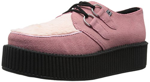 T.U.K. Unisex Faux Fur Creeper Fashion Sneaker, Pink, 3 M US