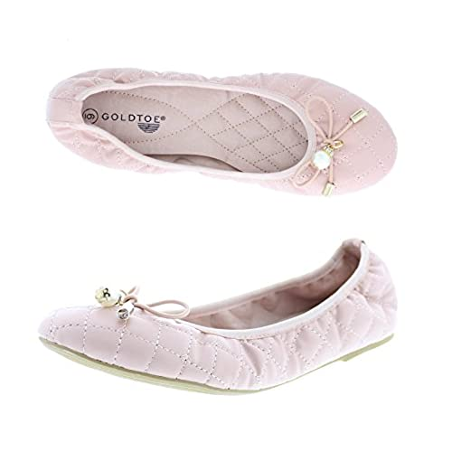 7fca32f13e2d Gold Toe Women s Aliyah Memory Foam Diamond Quilted Faux Leather Round Toe Ballet  Flat Pump hot