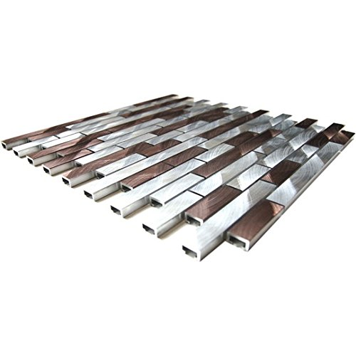Silver And Chocolate Brick Mixed Aluminum Mosaic Tile - Kitchen Backsplash/Bath Backsplash/Wall Decor/Fireplace Surround