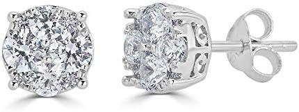 1/4Ct Women Round Diamond Stud Earrings Set In Sterling Silver