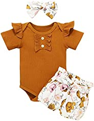 Cindya Newborn Baby Girl Clothes Ruffle Tops Floral Pants+Hat+Headband Outfit Clothing 3Pcs Set