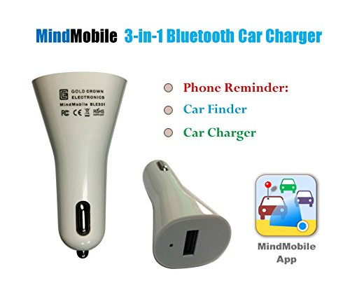 MindMobile Phone Reminder, Car Locator and Charger. The Only Bluetooth and GPS technology device for iPhones that - Reminds you if you forgot your Phone -Finds your car - and is a USB Charger. for iPhone 4s and newer device is fully guaranteed (Reminder Device)
