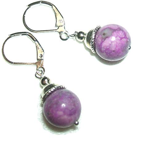 Purple SUGILITE Earrings SEMI PRECIOUS GEMSTONE Metaphysical NEGATIVITY PROTECTION Emotional Healing Silver Plt ()