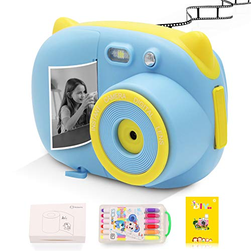 Instant Print Camera for Kids Camera Toys with WiFi + Printer Paper + Color Brush + Painting Book,Carrying Case,Assorted Frames