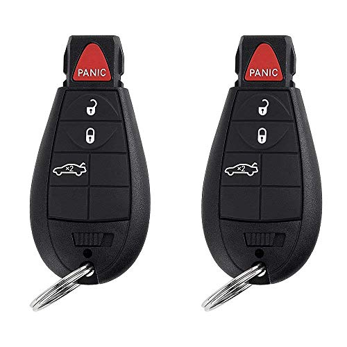 BESTHA 2 New Replacement 4 Button Keyless Entry Remote Key Fob Transmitter for M3N5WY783X Chrysler 300/Dodge Charger Challenger Magnum With Ignition key IYZ-C01C