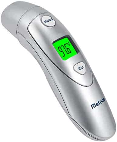 Metene No-Contact Forehead and Ear Thermometer, High-Accuracy Digital Thermometer For Baby, Kid and Adult, Instant Reading With LED Display,CE and FDA Approved