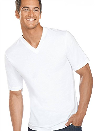 Athletic Jockey Shirt - Jockey Men's T-Shirts Slim Fit Cotton V-Neck - 3 Pack, White, L