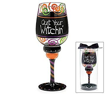 Quit Your Witchin' Halloween Party 20-ounce Wine Glass Boxed Gift
