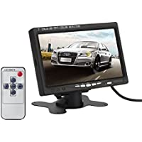 ATian 7 Inch High Resolution 800*480,support 1024*768,tft LCD Screen Display Monitor with Hdmi VGA Input, DVD VCR Car Rearview Headrest Monitor +Remote +Ac Charger