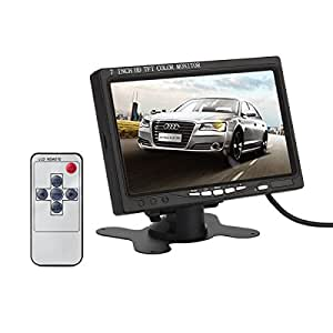 ATian 7 Inch High Resolution 800×480, Support 1024×768,TFT LCD Screen Display Security Monitor with HDMI VGA Input, DVD VCR Car Rearview Headrest Monitor +Remote +Ac Charger