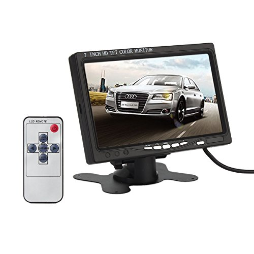 (ATian 7 Inch High Resolution 800×480, Support 1024×768,TFT LCD Screen Display Security Monitor with HDMI VGA Input, DVD VCR Car Rearview Headrest Monitor +Remote +Ac Charger)