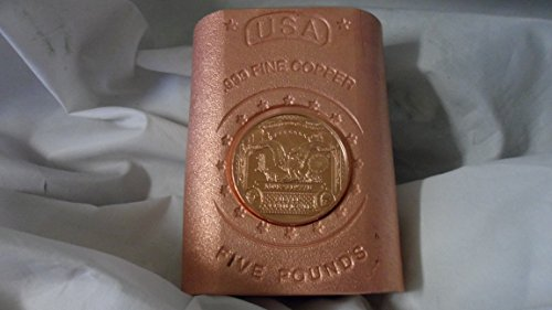 5 Lb. Coin Infused Satin Finish $1 Black Eagle Banknote style .999 Fine Copper Bullion Art Bar Ingot (Bullion Black Finish)