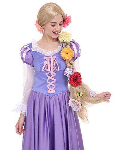 Harajuku Pop Princess Halloween Costume (Angelaicos Womens Long Braids Blonde Costume Rapunzel Wig with 10pcs Flowers)